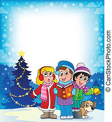 Christmas carol singers theme 4 - eps10 vector illustration