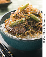Sweet Soy Beef Fillet With Shirakaki Noodles on Rice with...