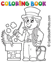Coloring book chimney sweeper - eps10 vector illustration