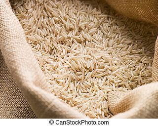 Basmati rice in sack