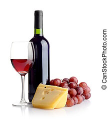 Bottle of red wine and cheese - Bottle of red wine, grapes...