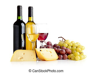 Wine, grapes, cheese isolated on white - Wine in bottles and...