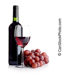 Bottle of wine and a bunch of red grapes - A bottle and a...