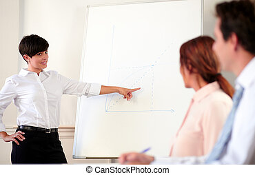 Young adult businesswoman giving a presentation