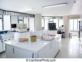 Testing blood samples in laboratory