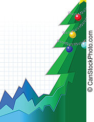 Infographic styled greeting card with Christmas tree