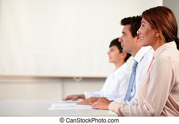 Professional adult business team listening meeting -...
