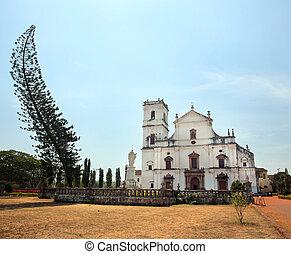 iglesia,  colonial, viejo,  India,  Goa