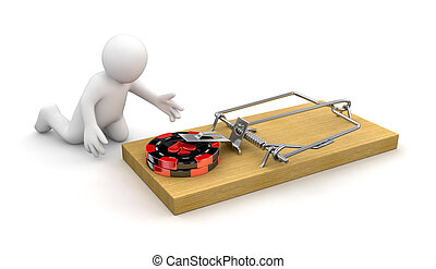 Man and Mousetrap with Casino chips. Image with clipping...