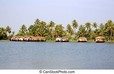 House boats in Kerala Backwaters - Traditional house boats...