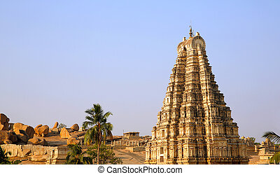 Hampi, India, Ancient Hindu temple - Ancient Hindu temple...