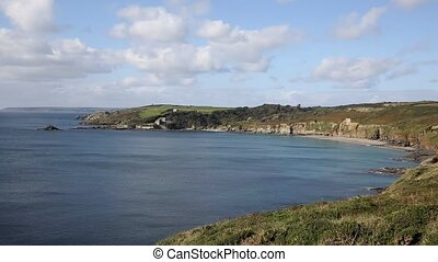 South West Coast Path Kenneggy Sand Cornwall England with...