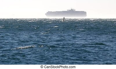 Container ship in the windstorm.