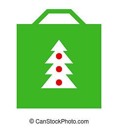 Shopping bag with Christmas tree