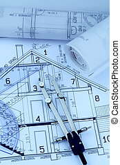 a house plan - blueprint for a house with compass and ruler