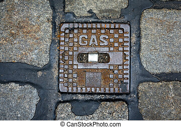 cover for gas pipe - a cover as access to a gas line in...