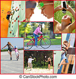 photo collage of active people doing sports activities -...