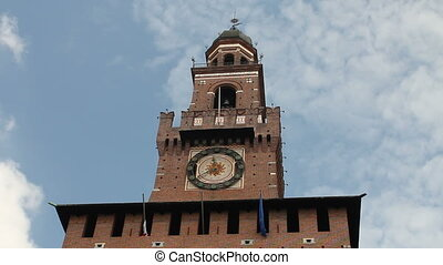 Main entrance of Castello Sforzesco in Milan, Italy. Sforza...