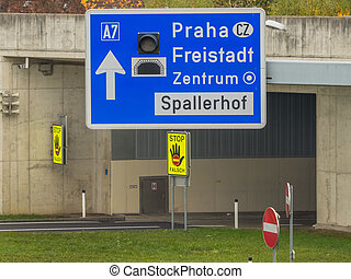 austria, linz, city highway. tunnel for noise calming the...