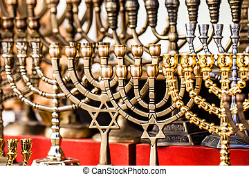 Menorah for sale in shop in the Jerusalem old city market....