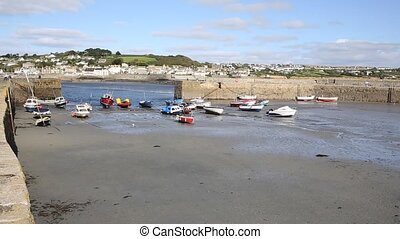 St Michaels Mount Harbour Cornwall England medieval castle...