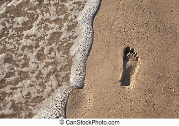sand with footprint and water wave