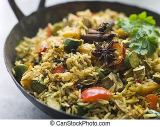 Vegetable Biryani in a Large Karahi