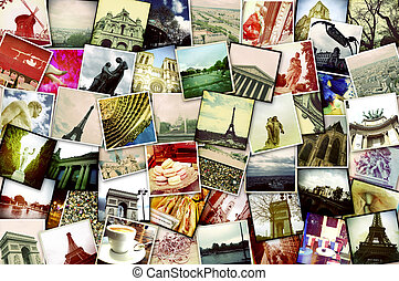 snapshots of Paris, France - collage of different snapshots,...