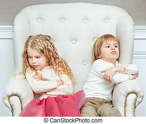 Liitle angry siblings - Cute little siblings boy and girl...