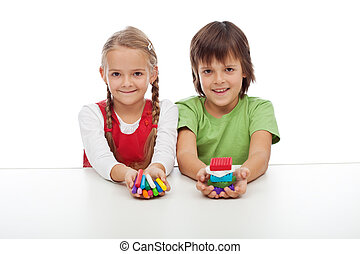 Kids with colorful clay blocks