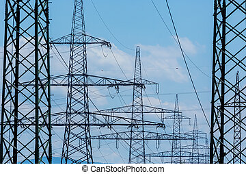 current keys of a high-voltage line - poles of a power line....
