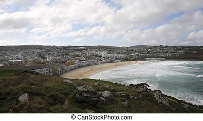 Porthmeor beach St Ives Cornwall uk - Porthmeor beach St...