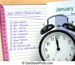 New Year's Resolutions - New Year's resolutions with alarm...