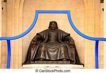 Genghis Khan Statue, Sukhbaatar Square, Ulaanbaatar,...