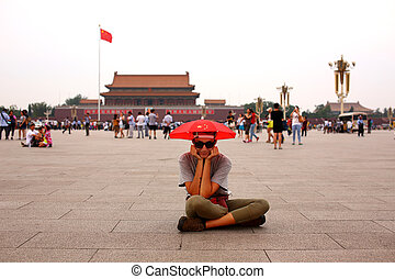 Female tourist at Beijing, China - Female tourist wearing...