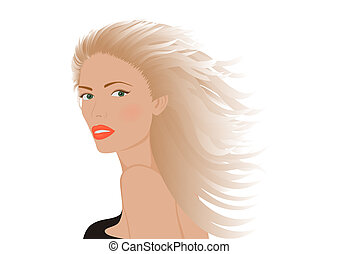Portrait of blonde woman - Illustration of portrait of...