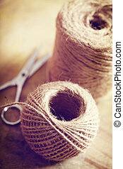 Twine cord - Natural style twine cord on rustic wooden table
