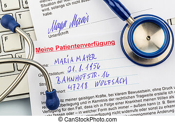 living will - a living will in german language. instructions...
