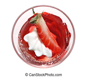 Strawberry jelly - Red strawberry jelly in a glass