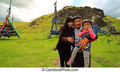 Shaman mongolian family, Ulaanbaatar, Mongolia