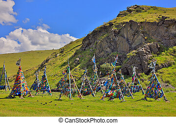 Shaman, Adak, Tree, prayer's, flag, Mongolia