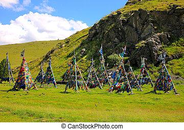 prayer's, bandera,  mongolia, árbol,  adak, chamán
