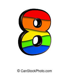 digit with rainbow texture - 8 - 3d digit with rainbow...