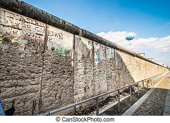 Berlin Wall - Remains of the Berlin Wall preserved along...