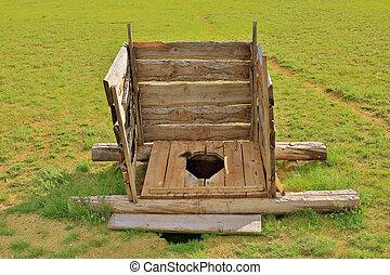 Mongolian wooden squat toilet outside yurt, grassland of...