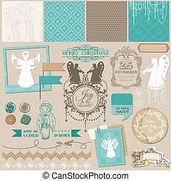 Scrapbook Design Element - Vintage Christmas Angel Set - in...