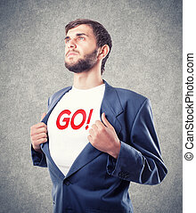 Appeal to go - The young businessman motivates to go