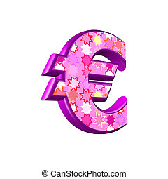 3d pink currency sign isolated on white background