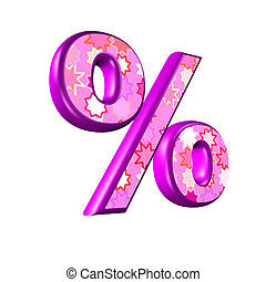 3d pink percent sign isolated on white background