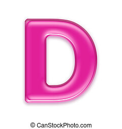pink jelly letter isolated on white background - d - 3d pink...